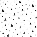 Seamless pattern with small triangles. Hand drawn geometric triangle shapes.