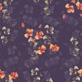 Seamless pattern small wild orange and beige flowers on a deep violet background. Watercolor. -6