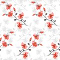 Seamless pattern small wild red and gray flowers on the white background. Watercolor - 3