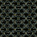 Seamless pattern, small yellow-blue curls, on a black background Royalty Free Stock Photo