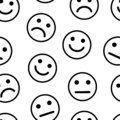 Seamless pattern with smiles, positive, neutral and negative. Vector illustration