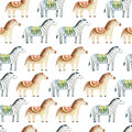 Seamless pattern of smiling brown horse and zebra with a saddle