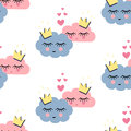 Seamless pattern with smiling sleeping clouds in love on white background. Royalty Free Stock Photo