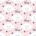 Seamless pattern with smiling sleeping clouds and stars.