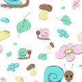 Seamless pattern with snails, mushrooms and flower