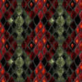 Seamless pattern of snake skin red and green Royalty Free Stock Photos