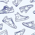 Seamless Pattern with Sneaker Shoe Flat Line Stroke