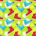 Seamless pattern with sneakers. Vector background.
