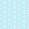 Seamless pattern with snowflakes and hearts small inside them can be used for wallpaper fills textures Royalty Free Stock Photos