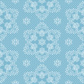 Seamless pattern snowflakes and polka dots on blue background vector. Christmas lace fabric or wrapping paper design illustration