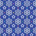 Seamless pattern from snowflakes, stars and colorful confetti.