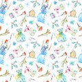 Seamless pattern of a snowman, christmas tree, gingerbread, bag and gift.