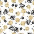 Seamless Pattern with Snowy Snowflakes and Circles