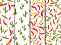 Seamless pattern with sombrero, pepper and cactus. Mexican motif. Vector