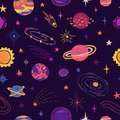 Seamless pattern with space elements. Cartoon style wallpaper with planets, universe and cosmic star. Children`s Royalty Free Stock Photo