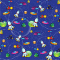 Seamless pattern - Spaceships Stock Photography