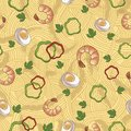 Seamless pattern spaghetti with shrimp this is file of eps format Royalty Free Stock Photography