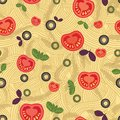 Seamless pattern spaghetti with tomatoes this is file of eps format Stock Photography