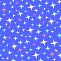 Seamless pattern with bright sparkles on blue.