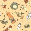 Seamless pattern of spices and herbs vector illustration Stock Photo