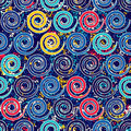 Seamless pattern with spirals Grange complex. Shapes placed on texture.