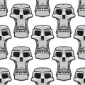Seamless pattern of spooky Halloween skulls Royalty Free Stock Photo