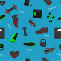 Seamless pattern with sport and fitness elements