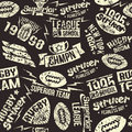 Seamless pattern sport rugby emblem in retro style light on a black background Stock Images