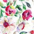 Seamless pattern spring colorful flowers watercolor illustration Royalty Free Stock Photos
