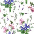 Pattern with spring flowers, watercolor painting Royalty Free Stock Photo