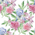 Seamless pattern with spring flowers. Iris. Peony. Clematis. Watercolor.