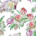 Seamless pattern with spring flowers. Rose. Hyacinth. Clematis. Iris. Tulip. Watercolor.