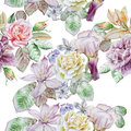 Seamless pattern with spring flowers. Rose. Peony. Lilia. Iris. Clematis. Hyacinth. Watercolor.
