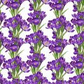 Seamless pattern from spring purple crocuses on white Stock Photo