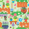 Seamless pattern with spring and summer flowers agriculture too tools equipment village garden background ready to use as Stock Photo
