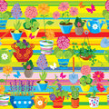 Seamless pattern with spring and summer flowers in pots.