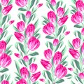 Seamless pattern with spring tulips for fabric vector illustration Stock Photos