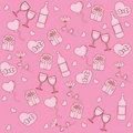Seamless pattern with st. valentine stuff Royalty Free Stock Photos