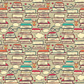 Seamless pattern with stacks of books and hearts