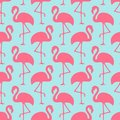 Seamless Pattern Flamingos Ans Waves Pink And Blue