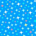 Seamless pattern with starlight sparkles, twinkling stars. Shiny blue background. Illustration of night starry sky. Cartoon style