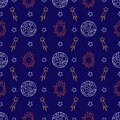 Seamless pattern with stars and comets on a blue background. Vector.