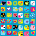 Seamless pattern with stars, flowers and hearts Stock Photography