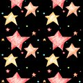 Seamless pattern with stars for kids on a black background