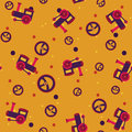 Seamless pattern with steams vector image and helms orange color children theme Stock Image