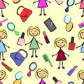 Seamless pattern stick figure girl with powder, lipstick, comb, phone, mirror, lacquer and purse