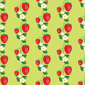 Seamless pattern with strawberries, leafs and flowers. Vector background