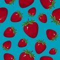 Seamless Pattern ,Strawberry on Azure Background Royalty Free Stock Photo