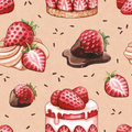 Seamless pattern with strawberry cake illustrations Royalty Free Stock Photo