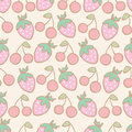 Seamless pattern of strawberry and cherry cartoon vector illustration Royalty Free Stock Photos